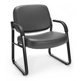 OFM Big and Tall Guest Chair with Arms- Vinyl - Mid Back - Charcoal