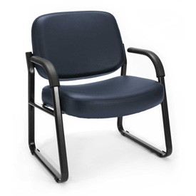 OFM Big and Tall Guest Chair with Arms- Vinyl - Mid Back - Navy