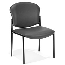 OFM Antimicrobial Stacking Chair - Vinyl - Charcoal