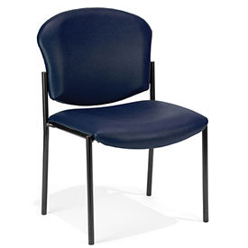 OFM Manor Series Armless Guest and Reception Chair, Anti-Microbial/Anti-Bacterial Vinyl, Navy