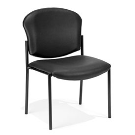 OFM Antimicrobial Stacking Chair - Vinyl - Black