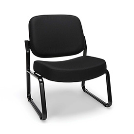 OFM Big and Tall Guest Chair- Fabric - Mid Back - Black