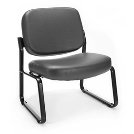 OFM Antimicrobial Big and Tall Guest Chair- Fabric - Mid Back - Charcoal