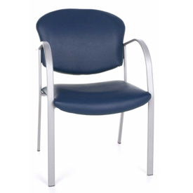 OFM Danbelle Series Contract Reception Chair, Anti-Microbial/Anti-Bacterial Vinyl, Navy