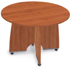 "Conference Table 43"" Round - Cherry & Silver"