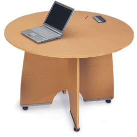 """Conference Table 43"""" Round - Maple & Silver"""