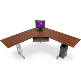 "OFM L-Shaped Freestanding Workstation 72"" x 72"", Cherry"