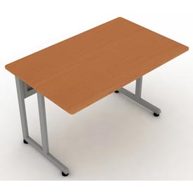 "Modular Desk/Worktable 30""Dx48""W - Cherry & Silver"