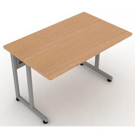 "Modular Desk/Worktable 30""Dx48""W - Maple & Silver"