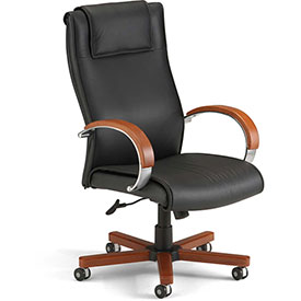 OFM Apex Executive High-Back Leather Chair Black/Cherry by