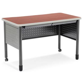 "OFM Steel Desk with Pencil Drawers - 25-1/2""D x 47-1/4""W - Cherry - Mesa Series"