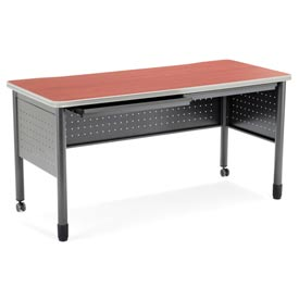"OFM Steel Desk with Pencil Drawers - 25-1/2""D x 55""W - Cherry - Mesa Series"