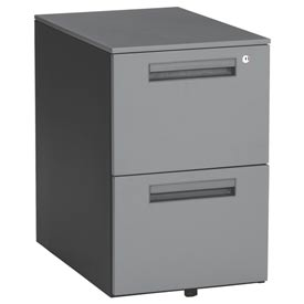 "Mesa Series - Mobile Pedestal with 2 Drawers 15-1/2""Wx23""D - Gray"