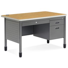 "OFM Teacher's Desk with Center Drawer - 30""D x 48W"" - Oak - Mesa Series"