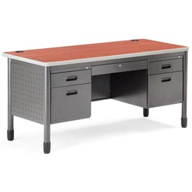 "Mesa Series - Metal Desk 28""Dx59-1/4""W - Cherry"