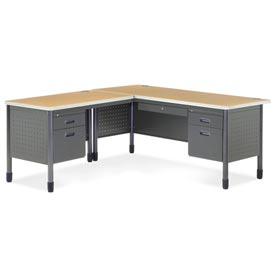 "OFM L Desk with Left Return - 30""D x 67""W - Oak - Mesa Series"