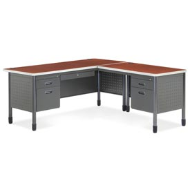 "OFM L Desk with Right Return - 30""D x 66""W - Cherry - Mesa Series"
