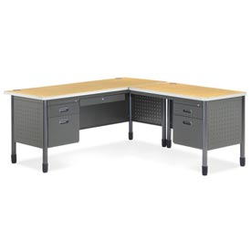 "OFM L Desk with Right Return - 30""D x 66""W - Oak - Mesa Series"