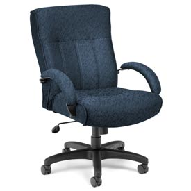 OFM Big and Tall Office Chair with Arms - Fabric - Mid Back - Blue