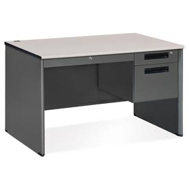 """OFM Steel Desk with Drawer - Single Right Pedestal - 30""""D x 48""""W - Gray Nebula - Executive Series"""