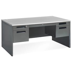 "OFM Steel with with Drawer - Double Pedestal - 30""D x 60""W - Gray Nebula - Executive Series"