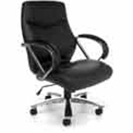OFM Big and Tall Office Chair with Arms - Leather - Mid Back - Black - Avenger Series
