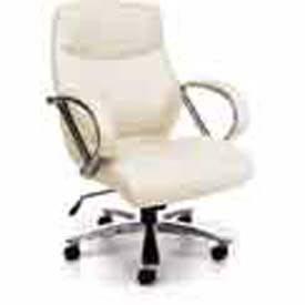 OFM Avenger Series Big and Tall Executive Mid Back Chair, Leather, Cream