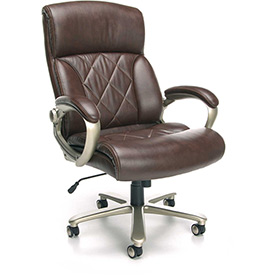 OFM Avenger Series Big and Tall Executive High Back Chair, Leather, Brown with Champagne Finish