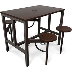 "OFM Standing Height Table - 47-3/4"" x 31-1/4"" x 38""H - Walnut with 4 Attached Walnut Seats"