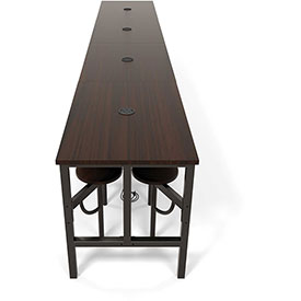 """OFM Standing Height Table - 190-1/2"""" x 31-1/4"""" x 38""""H - Walnut with 16 Attached Walnut Seats"""