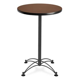 "OFM Round Cafe Bar Table 24"" - Mahogany w/ Black Base"