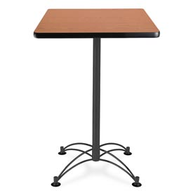 "Square Black Base Cafe Table 24"" - Cherry"