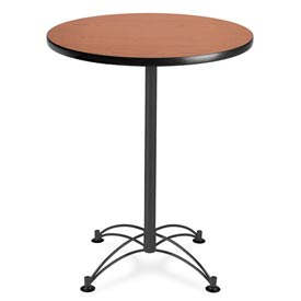 "OFM Round Cafe Bar Table 30"" - Cherry w/ Black Base"