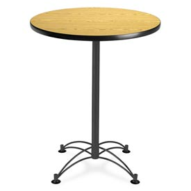 "Round Black Base Cafe Table 30"" - Oak"