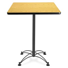 "OFM Square Cafe Bar Table - 30"" - Oak with Black Base"