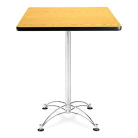 "OFM Square Cafe Bar Table - 30"" - Oak with Chrome Base"