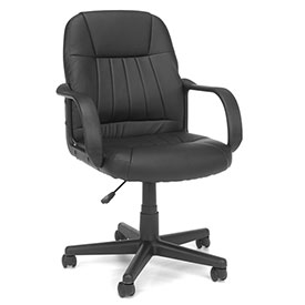 OFM Executive Conference Chair with Arms - Vinyl - Mid Back - Black - Essential Series