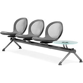 NET Series Beam with 3 Seats and 1 Table - Gray