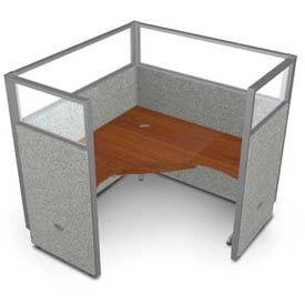 "OFM RiZe 1 Workstation Unit Kit 63""H x 60""W, Vinyl Panel w/ Translucent Top, Gray Panel/Cherry Desk"
