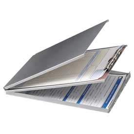 """Officemate® Aluminum Forms Holder with Storage, Top Opening, 8-1/2"""" x 12"""", Silver"""
