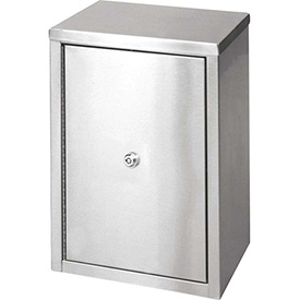 """Omnimed® Stainless Narcotic Cabinet, Double Door, Ambi-Top, 2 Adj. Shelves, 11""""W x 8""""D x 15""""H"""