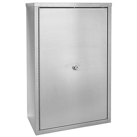 """Omnimed® Stainless Narcotic Cabinet, Double Door, Ambi-Top, 4 Adj. Shelves, 16""""W x 8""""D x 24""""H"""