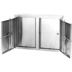 "Omnimed® Stainless Twin Narcotic Cabinet, Double Door, 8 Adjustable Shelves, 32""W x 8""D x 24""H"