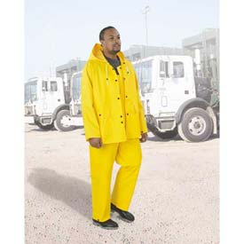 "Onguard Protex 48"" Yellow Coat W/Hood Snaps, Heavy Duty PVC, 2XL"