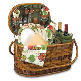 Picnic Time Merlot Deluxe Willow Picnic Basket by