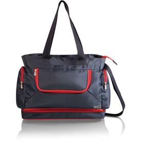 Picnic Time Beach Cooler Tote with Insulated Pockets Gray with Red Trim by