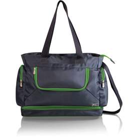 Picnic Time Beach Cooler Tote with Insulated Pockets Gray with Lime Trim by