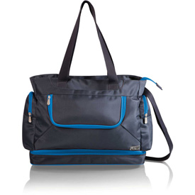 Click here to buy Picnic Time Beach Cooler Tote with Insulated Pockets Gray with Blue Trim.