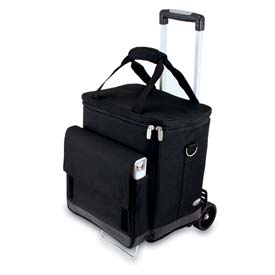 Picnic Time Cellar Wine Tote with Trolley, Black by