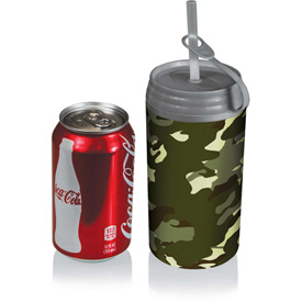 Click here to buy Picnic Time Micro Insulated Can Cooler with Removable Lid & Reusable Straw Silver Gray.